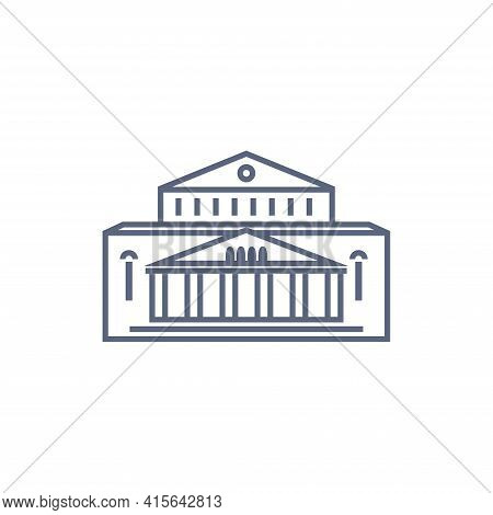 Museum Vector Icon - Art Museum Or Theatre Simple Pictogram In Linear Style On White Background. Vec
