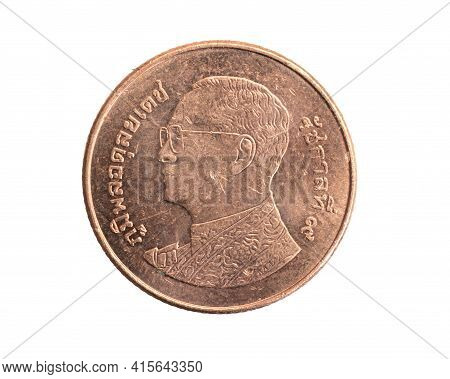 Thailand Twenty Five Baht Coin On A White Isolated Background