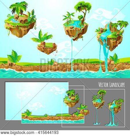 Isometric Game Tropical Nature Landscape Template With Islands Palm Trees Plants Stones Waterfalls A