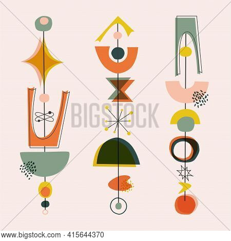 Mid Century Modern Style Shape, 1950s Background With Vintage Colors. Abstract Contemporary Poster W