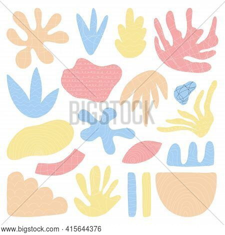 Set Of Trendy Doodle And Abstract Nature Icons On Isolated White Background. Abstract Contemporary M