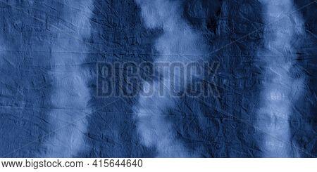 Indigo Tie-dye Stripe. Nautical Paint Textile Design. Night Ink Hand Drawing. Clouds Grunge Ethnic B