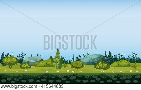 Seamless Grounds, Terraine Soil And Grass With Grass Flora Bushes, Underground Patterns. Vector, Gui