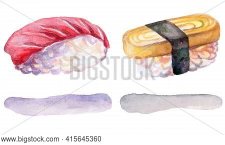 Sushi With Tuna And Omelette Japanese Cuisine, Watercolor Illustration Isolated On White Background.