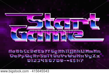 Start Game Alphabet Font. Pixel Letters, Numbers And Punctuations. Pixel Background. 80s Arcade Vide