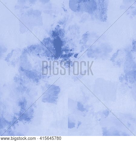 Abstract Water Color. Indigo Denim Dyed Pattern. Paintbrush Wallpaper. Water Background Drawing. Gra