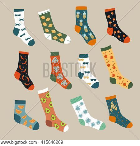 Socks Collection. Trendy Foot Wears Ornamental Textile Woolen Knitted Stylish Clothes Recent Vector