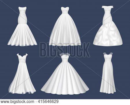 White Dresses. Wedding Clothes For Beauty Woman Fashion Dresses For Brides Evening Party Decent Vect