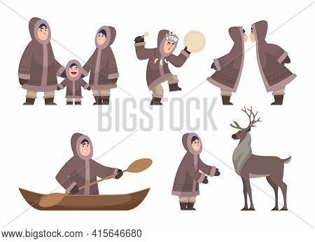 Eskimo Characters. Traditional Ethnic Authentic Characters Cold Alaska Family Exact Vector Cartoon H