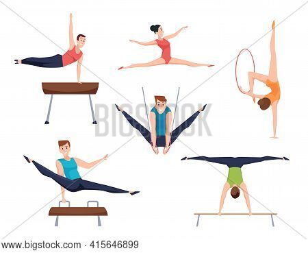 Gymnasts. Athletes Characters Acrobatic Moves Fitness Training Gymnastic Elements For Woman And Man