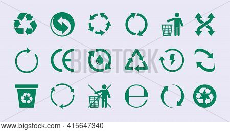 Renew Circles. Diversity Images Recycle Round Icons Save Nature Garish Vector Ecology Green Collecti