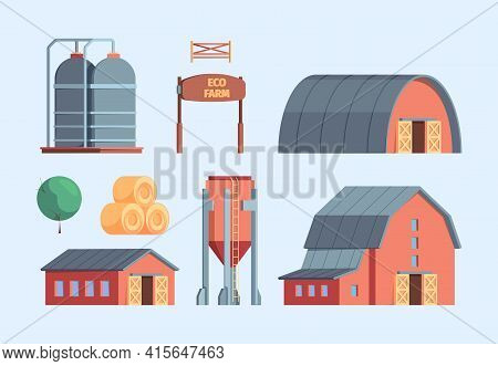 Farm Buildings. Rural Constructions Agricultural Objects Ranch Warehouse Wooden House Windmill Chick