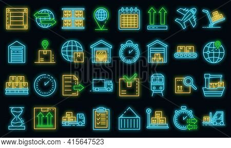 Goods Export Icons Set. Outline Set Of Goods Export Vector Icons Neon Color On Black