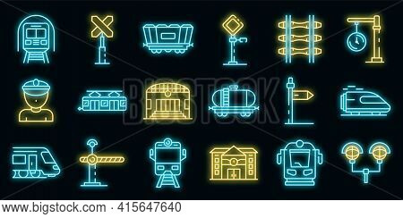 Railway Station Icons Set. Outline Set Of Railway Station Vector Icons Neon Color On Black