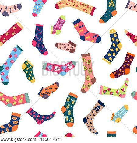Socks Pattern. Textile Design Pictures With Colored Fashionable Textured Woolen Socks For People Rec