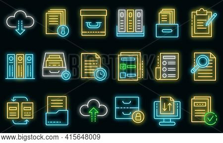Archive Icons Set. Outline Set Of Archive Vector Icons Neon Color On Black