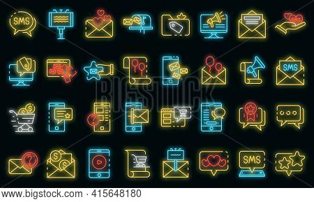 Sms Marketing Icons Set. Outline Set Of Sms Marketing Vector Icons Neon Color On Black