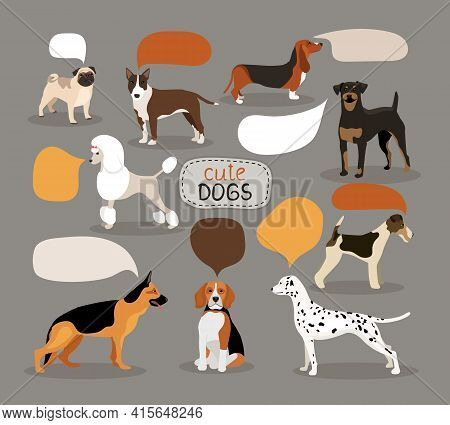 Set Of Colored Vector Dog Breeds With Empty Speech Bubbles Featuring An Alsation  Pug  Bloodhound  R