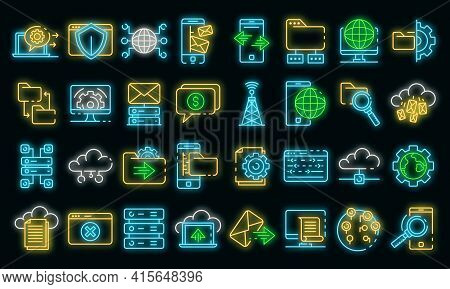 Hosting Icons Set. Outline Set Of Hosting Vector Icons Neon Color On Black