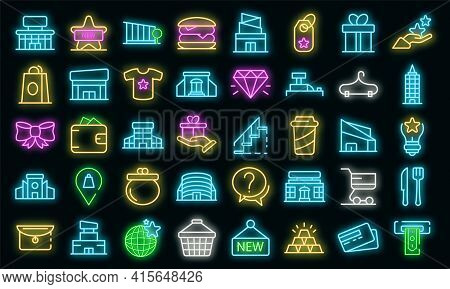 Mall Icons Set. Outline Set Of Mall Vector Icons Neon Color On Black