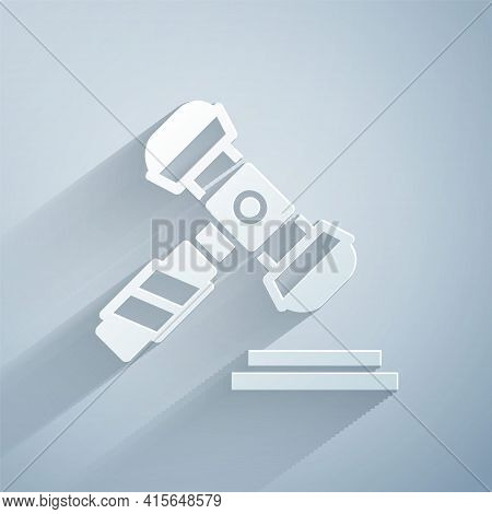 Paper Cut Judge Gavel Icon Isolated On Grey Background. Gavel For Adjudication Of Sentences And Bill