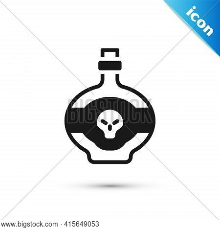 Grey Poison In Bottle Icon Isolated On White Background. Bottle Of Poison Or Poisonous Chemical Toxi