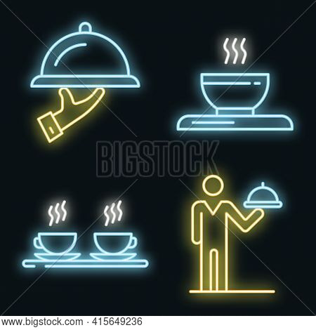 Waiter Icons Set. Outline Set Of Waiter Vector Icons Neon Color On Black