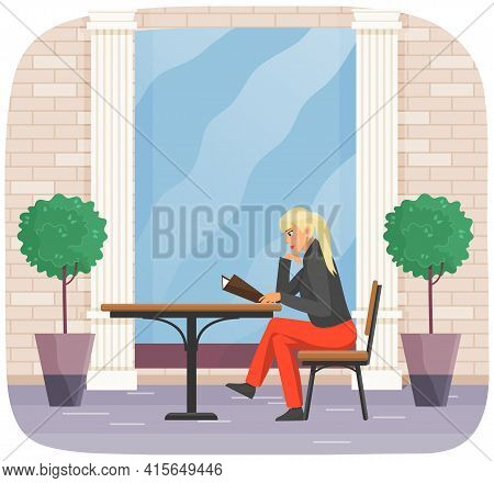 Blonde Woman Sitting And Reading Menu. Female Character In Cafeteria Choosing Dish To Order