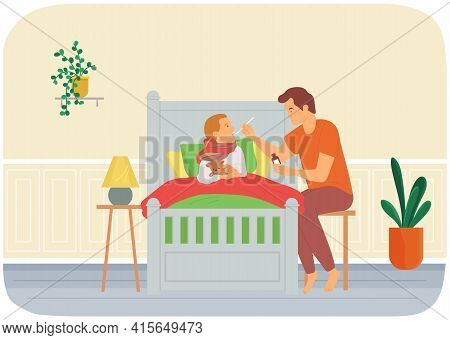 Dad Gives Medicine To Kid. Child Care, Parenthood Concept. Father Giving Medical Syrup To Sick Son
