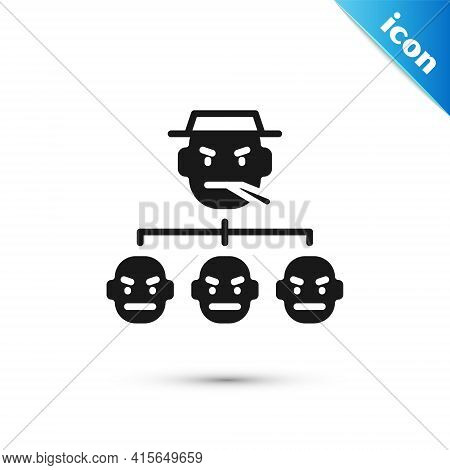 Grey Mafia Icon Isolated On White Background. Boss And Gangsters. Vector