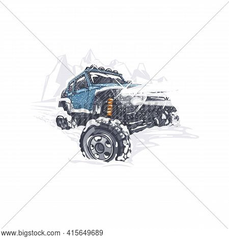 Blue Off-road Car Overcomes The Difficulties In The Snowy Winter