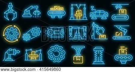 Assembly Line Icons Set. Outline Set Of Assembly Line Vector Icons Neon Color On Black