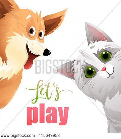 Cat And Dog Poster Or Banner Design, Funny Pets Kitten And Puppy Peeping Playing Together Friendly D