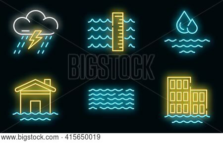 Flood Icons Set. Outline Set Of Flood Vector Icons Neon Color On Black