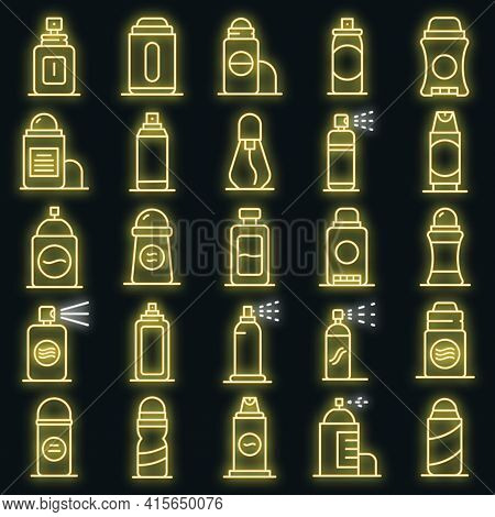 Deodorant Icons Set. Outline Set Of Deodorant Vector Icons Neon Color On Black