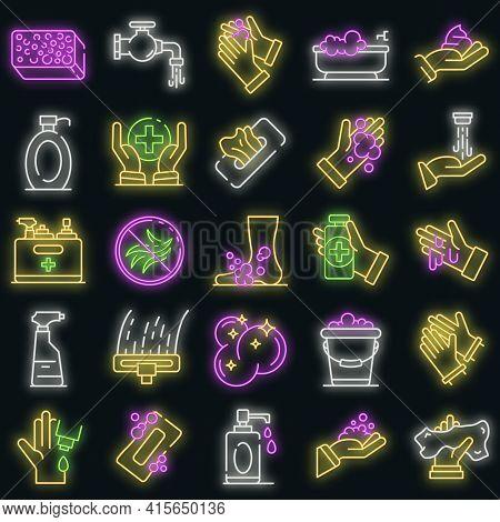 Sanitation Icons Set. Outline Set Of Sanitation Vector Icons Neon Color On Black