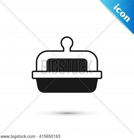 Grey Butter In A Butter Dish Icon Isolated On White Background. Butter Brick On Plate. Milk Based Pr
