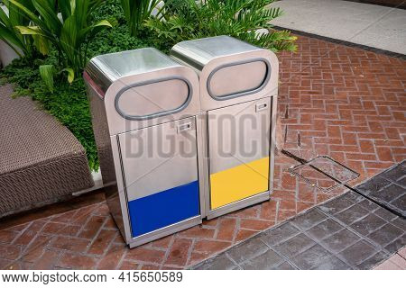 Stainless Steel General And Recycle Waste Bins In Public Space. Stainless Modern Trash Can