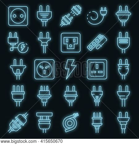 Plug Wire Icons Set. Outline Set Of Plug Wire Vector Icons Neon Color On Black