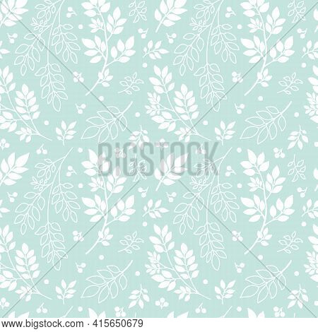 White Tree Branches On Mint Green Background. Abstract Plant, Silhouette And Outline Twigs With Leav