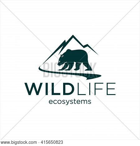 Nature Logo With Mountain And River Also Grizzly Bear Vector For Forest Graphic Design Element