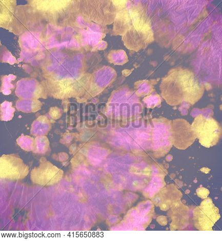 Tie Dye Circle. Colorful Artistic Fabric. Dyed Psychedelic Backdrop. Tye Dye Circular Kaleidoscope.