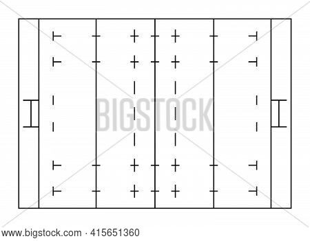 Rugby Sports Field Markings Lines. Outline Rugby Playground Top View. Sports Ground For Active Recre