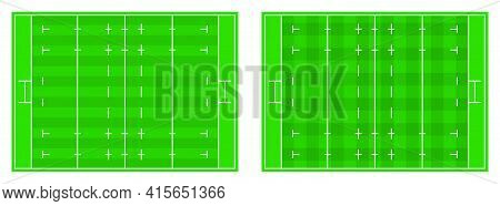 Rugby Field Markings Lines With Different Types Of Grass, Rugby Playground Top View. Sports Ground F