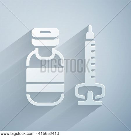 Paper Cut Medical Syringe With Needle Icon Isolated On Grey Background. Vaccination, Injection, Vacc