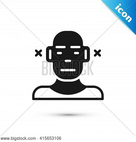 Grey Deafness Icon Isolated On White Background. Deaf Symbol. Hearing Impairment. Vector
