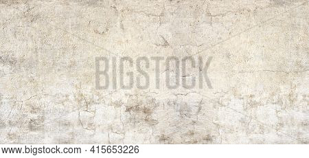 Grunge background with texture of old wall and cracked stucco of beige color. Horizontal or vertical banner with stucco wall texture. Mock up template. Copy space for text
