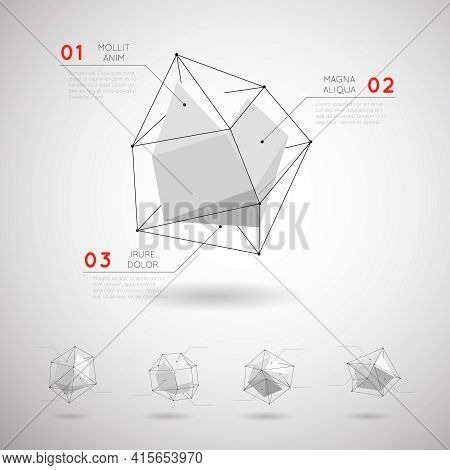Vector Low Poly Polygonal Geometric Shapes. Design 3d Graphic Abstract Crystal Element Illustration