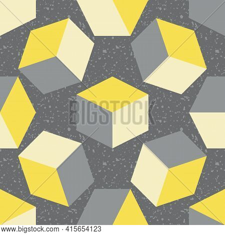 3d Cube Vector Seamless Pattern Background. Free Floating Yellow Grey Cubes On Textured Terrazzo Bac