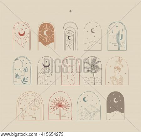 Modern Arch Vector Abstract Line Art Logo Designs